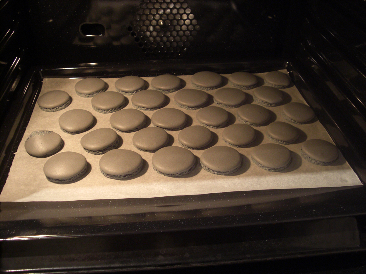 Coques macarons en cuisson