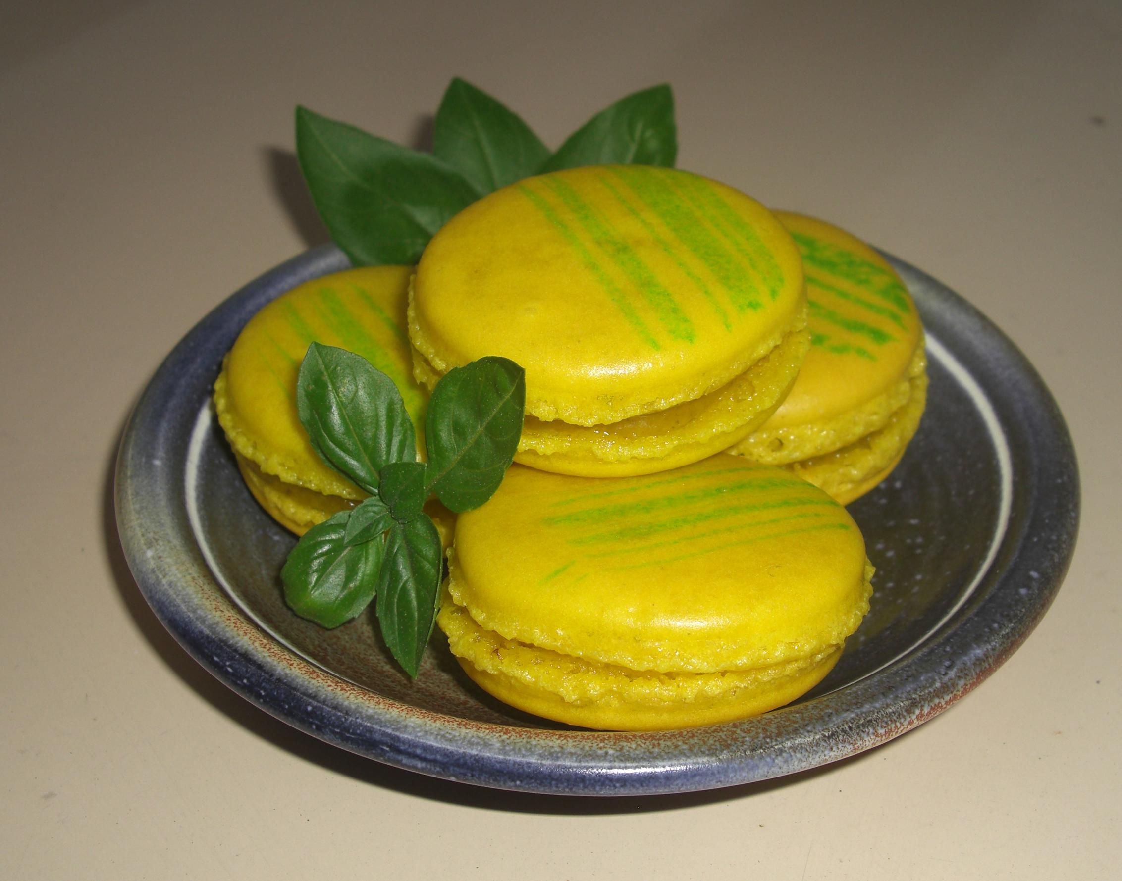 Macarons citron basilic